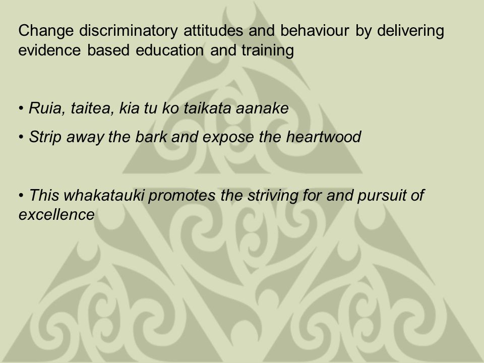 Change discriminatory attitudes and behaviour by delivering evidence based education and training