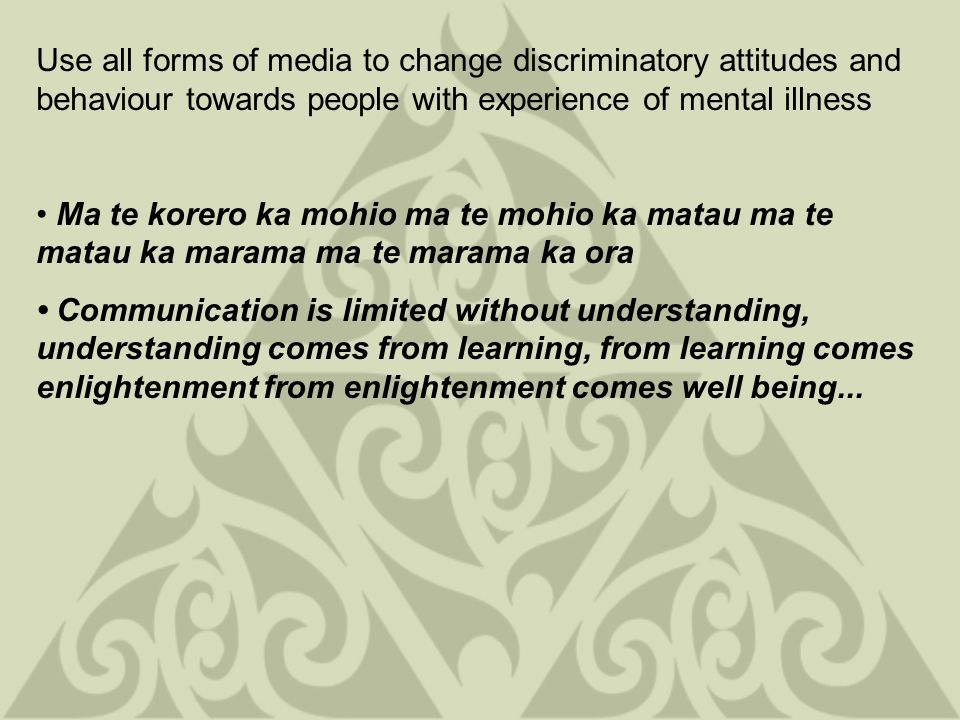 Use all forms of media to change discriminatory attitudes and behaviour towards people with experience of mental illness