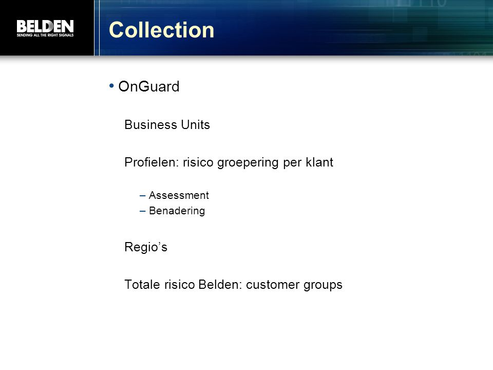Collection OnGuard Business Units