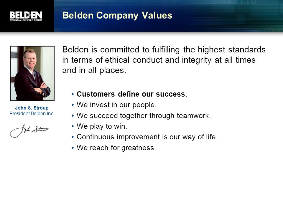 Belden Company Values