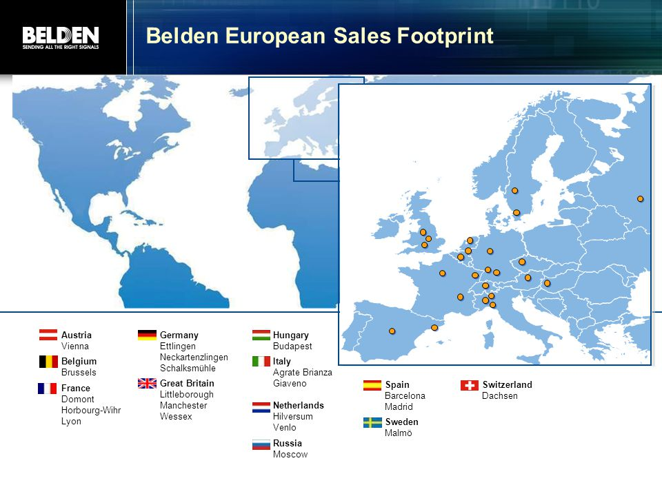Belden European Sales Footprint