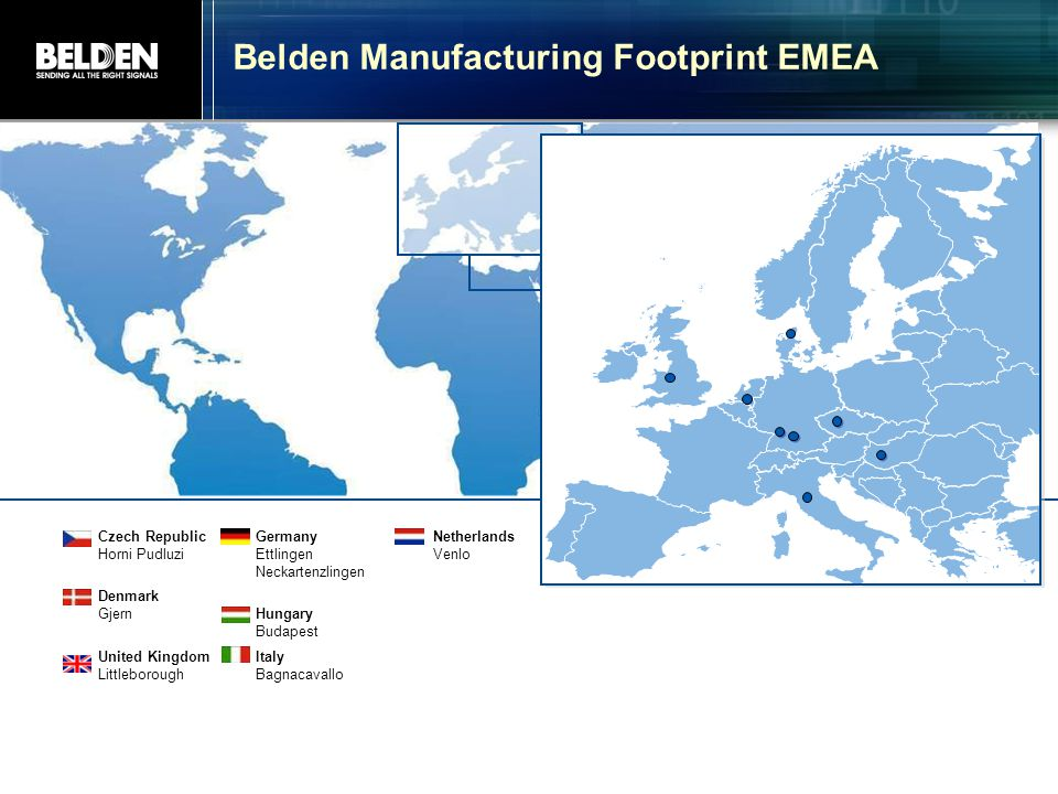 Belden Manufacturing Footprint EMEA
