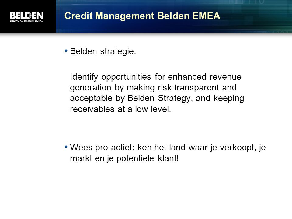 Credit Management Belden EMEA