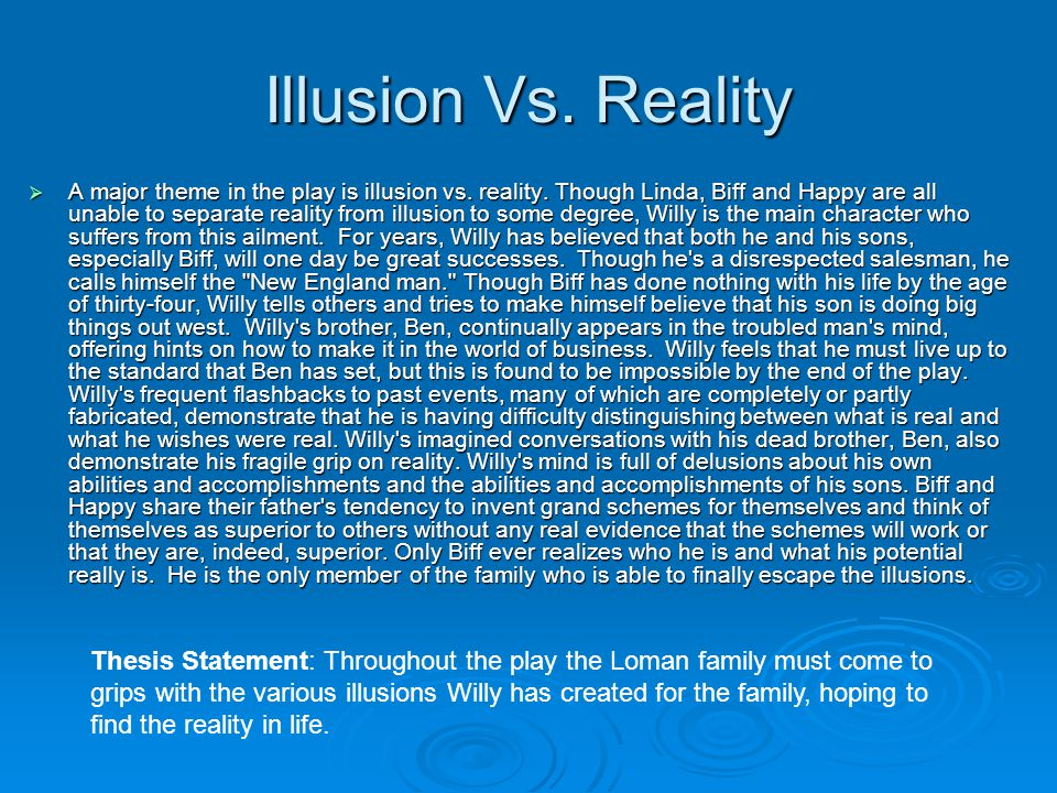 Death of a salesman illusion vs reality