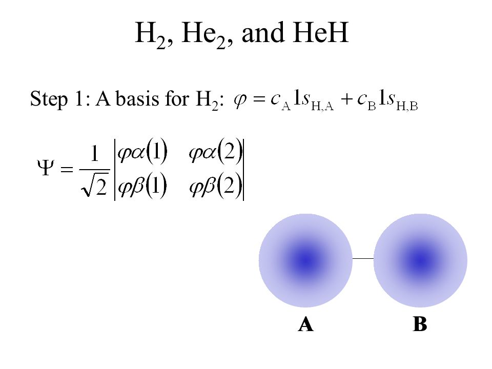H2, He2, and HeH Step 1: A basis for H2: A B A B