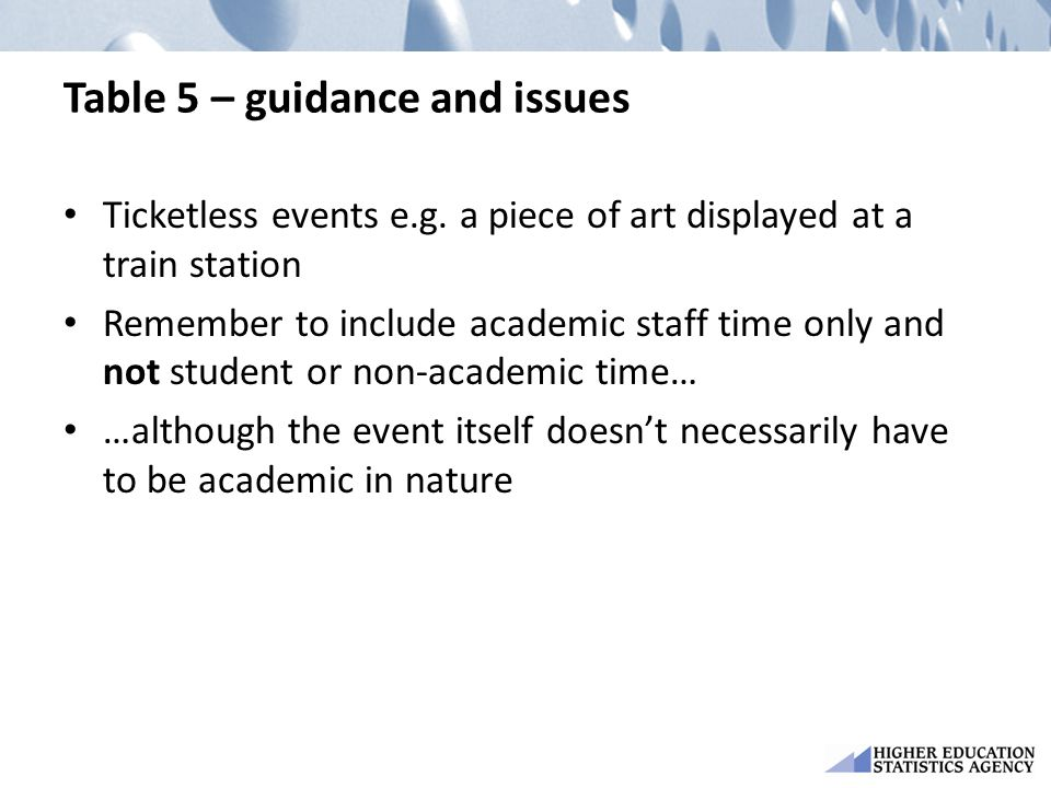 Table 5 – guidance and issues