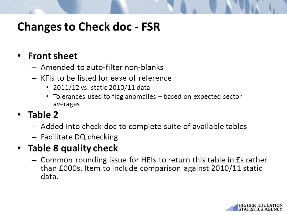 Changes to Check doc - FSR