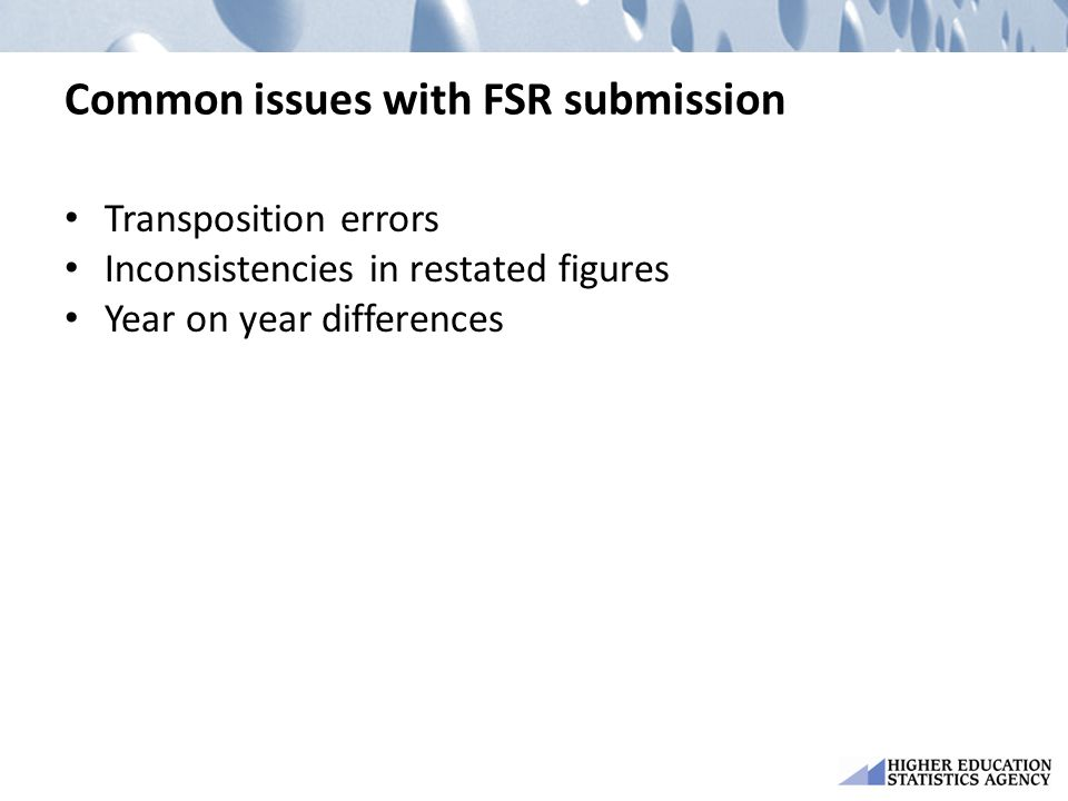 Common issues with FSR submission