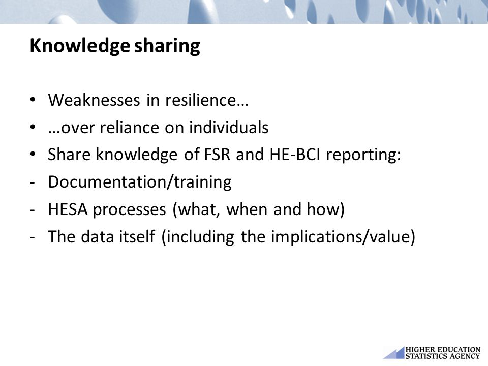 Knowledge sharing Weaknesses in resilience…