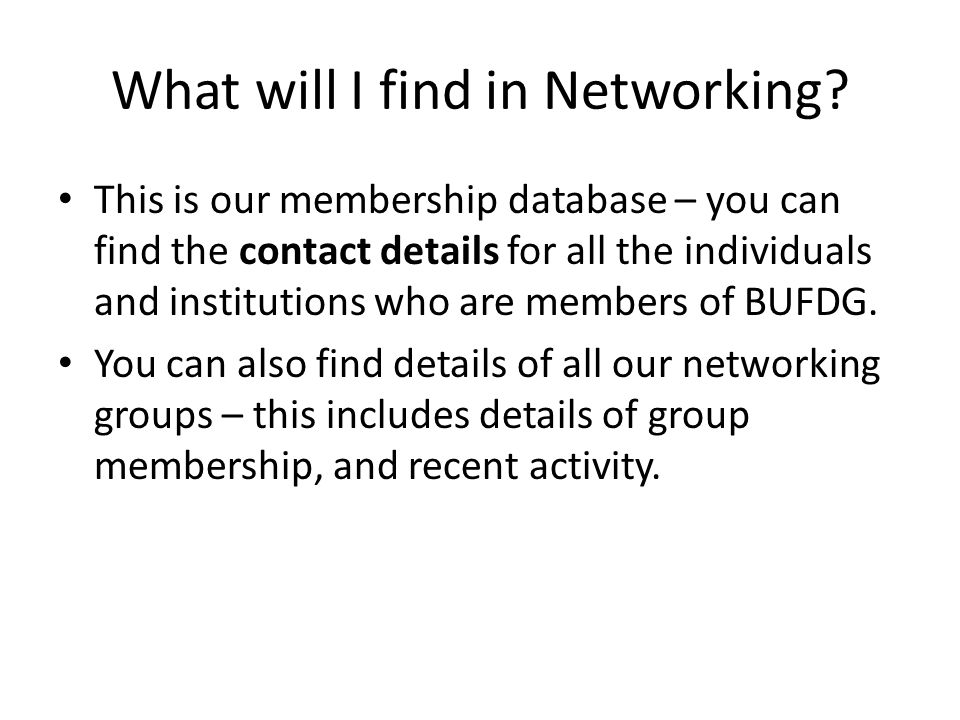 What will I find in Networking