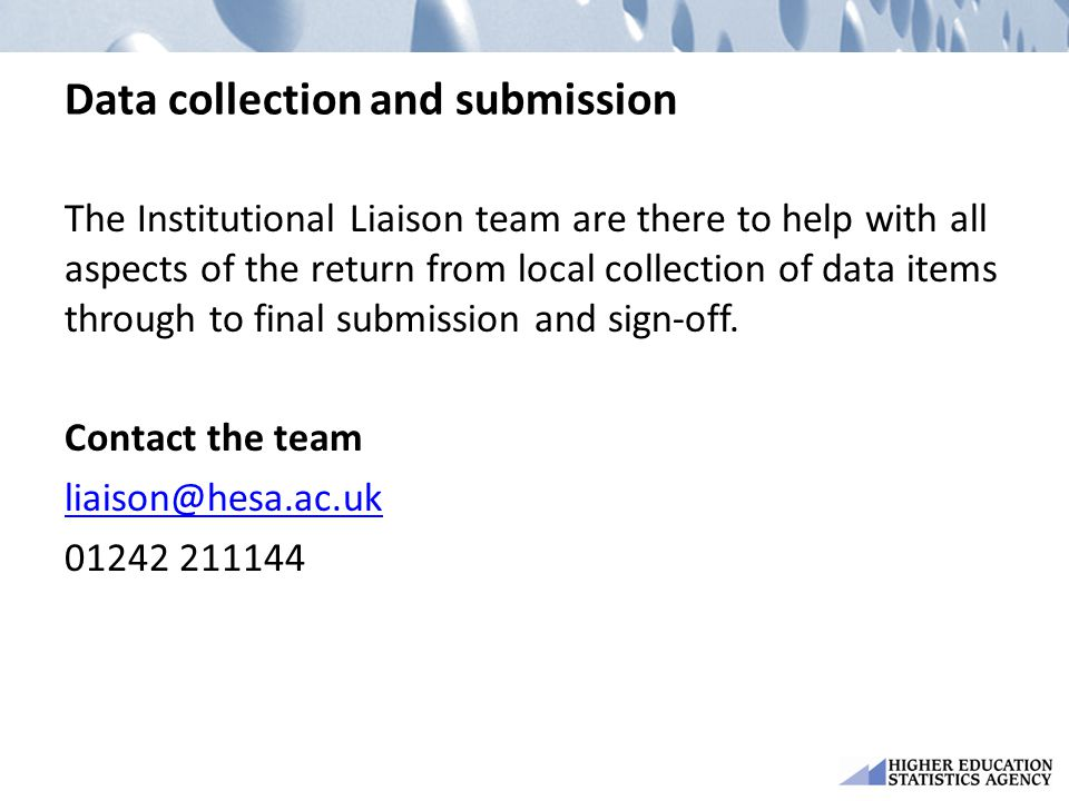 Data collection and submission