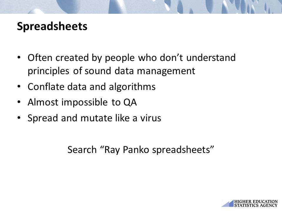 Search Ray Panko spreadsheets
