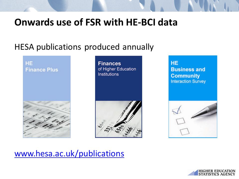 Onwards use of FSR with HE-BCI data