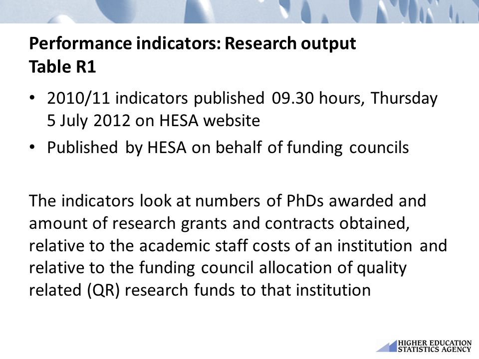 Performance indicators: Research output Table R1