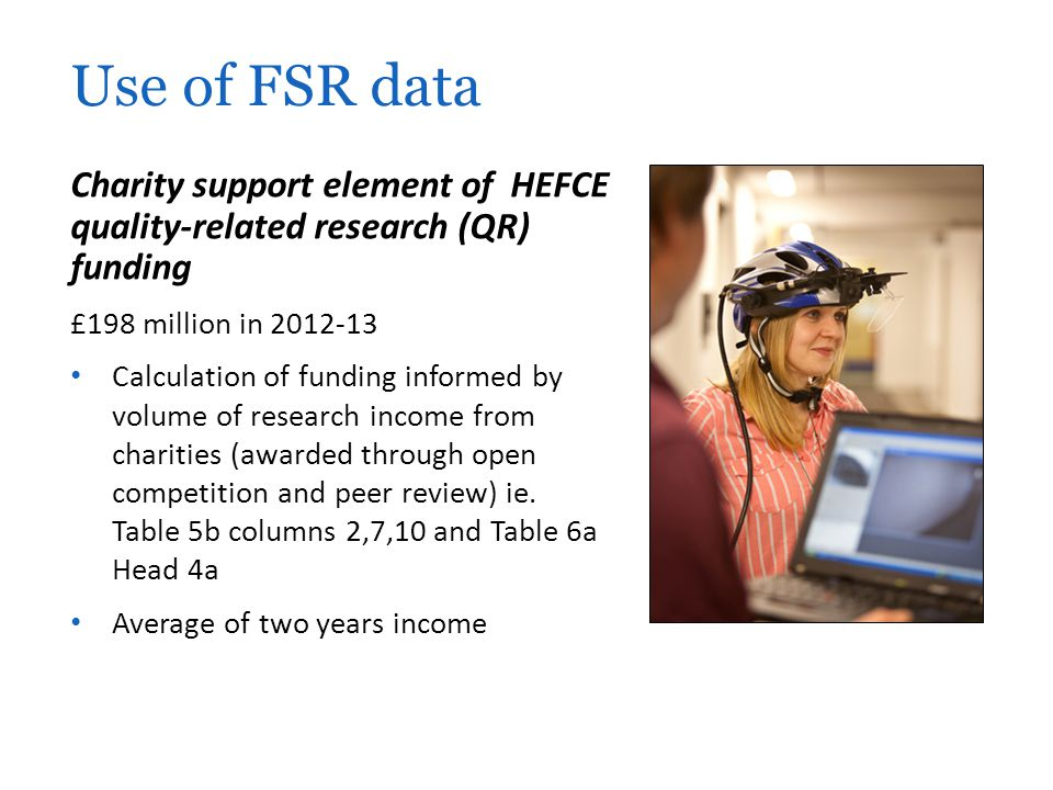 Use of FSR data Charity support element of HEFCE quality-related research (QR) funding. £198 million in 2012-13.
