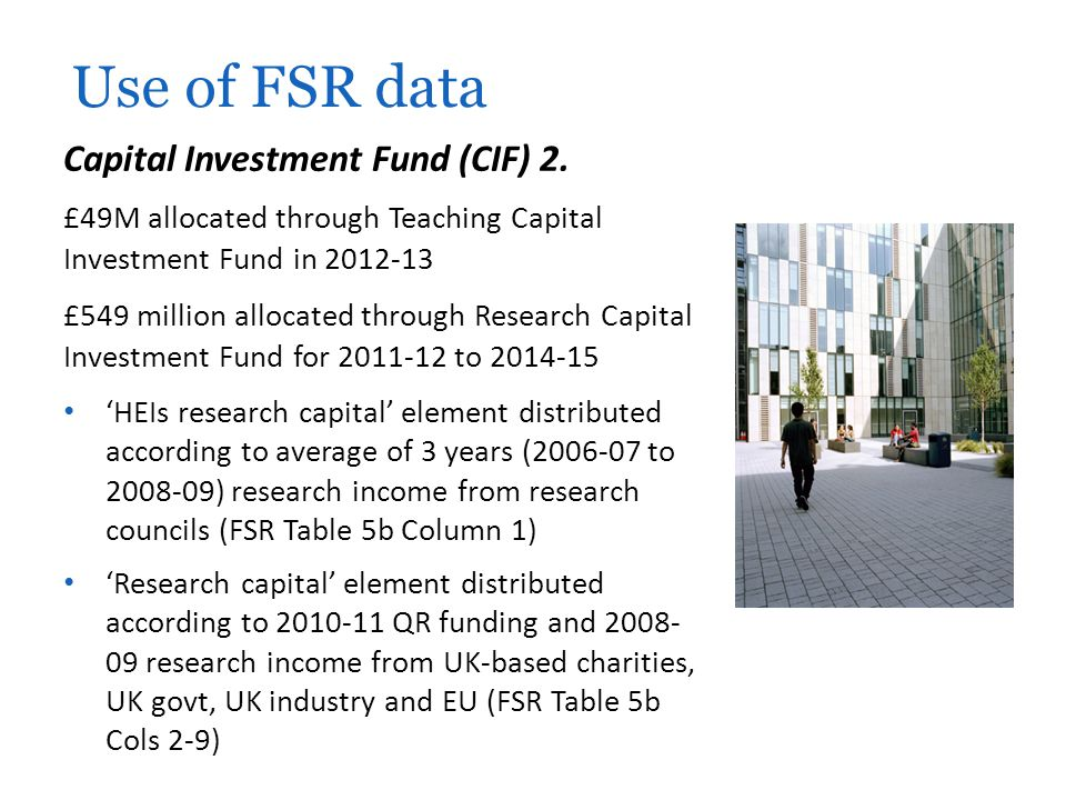 Use of FSR data Capital Investment Fund (CIF) 2.
