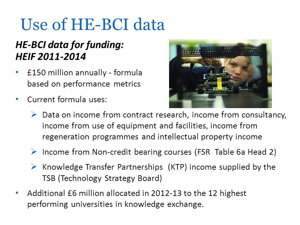 Use of HE-BCI data HE-BCI data for funding: HEIF 2011-2014