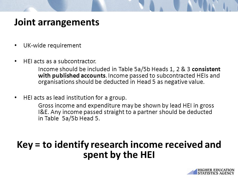 Key = to identify research income received and spent by the HEI