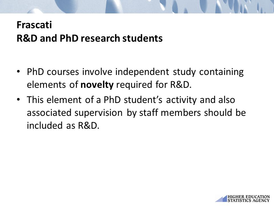 Frascati R&D and PhD research students