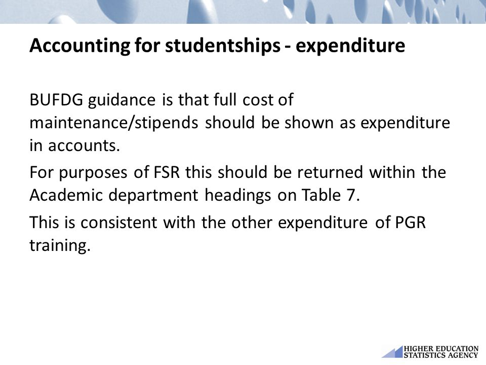 Accounting for studentships - expenditure