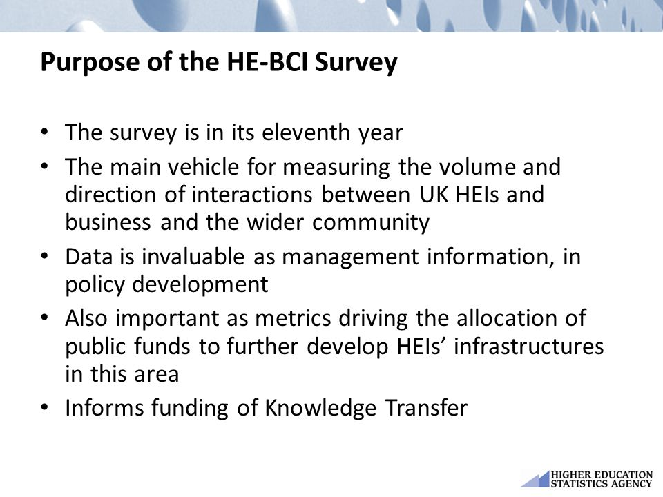 Purpose of the HE-BCI Survey