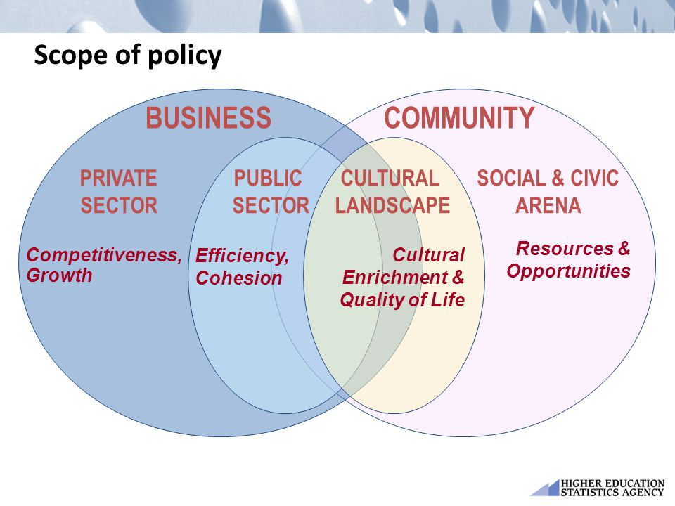 Scope of policy COMMUNITY BUSINESS PUBLIC SECTOR CULTURAL LANDSCAPE