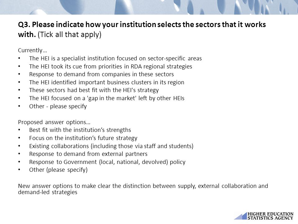 Q3. Please indicate how your institution selects the sectors that it works with. (Tick all that apply)