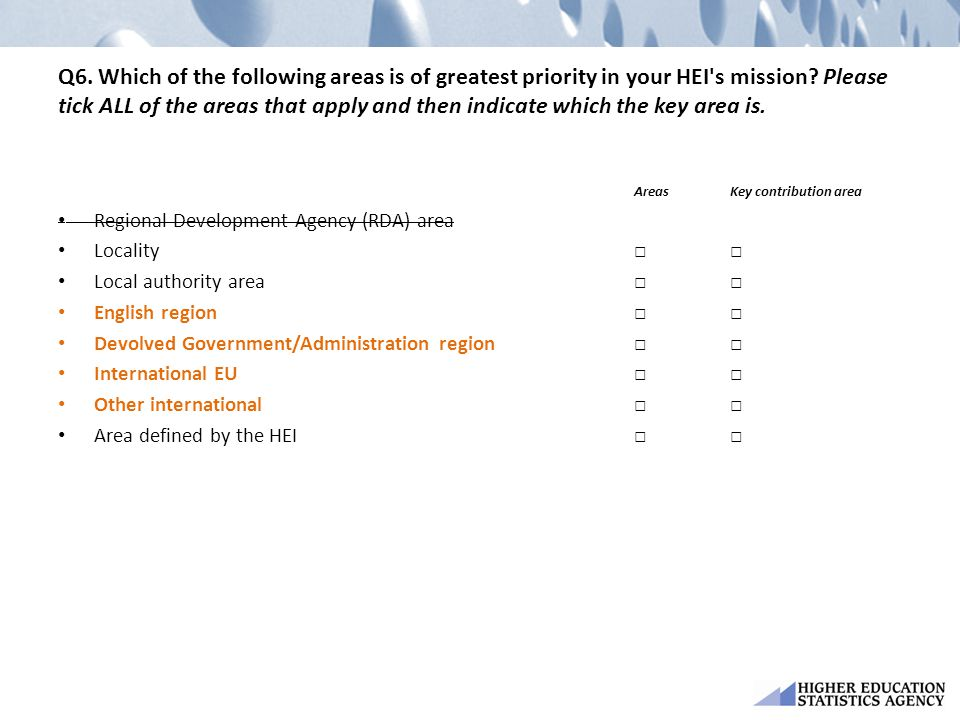 Q6. Which of the following areas is of greatest priority in your HEI s mission Please tick ALL of the areas that apply and then indicate which the key area is.