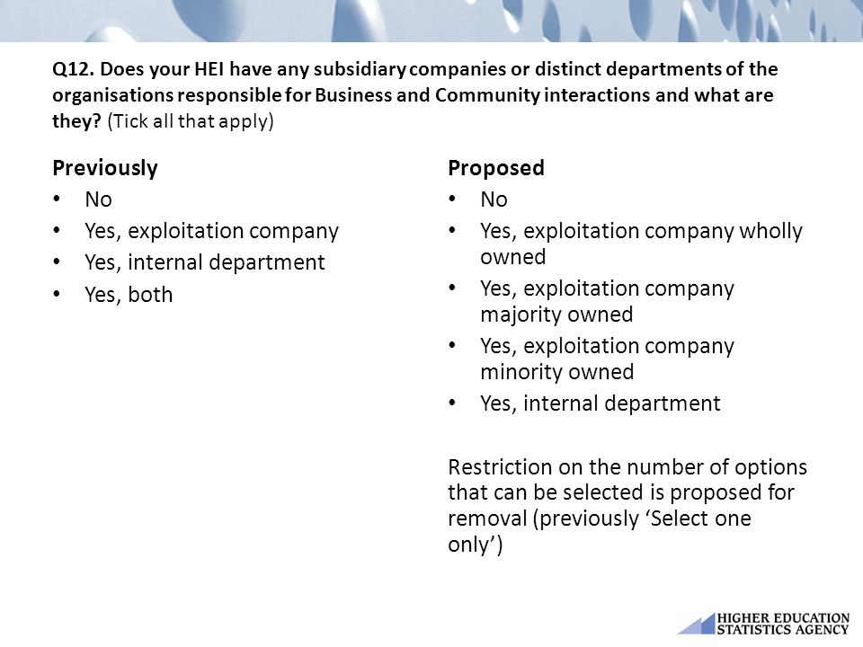 Yes, exploitation company Yes, internal department Yes, both Proposed