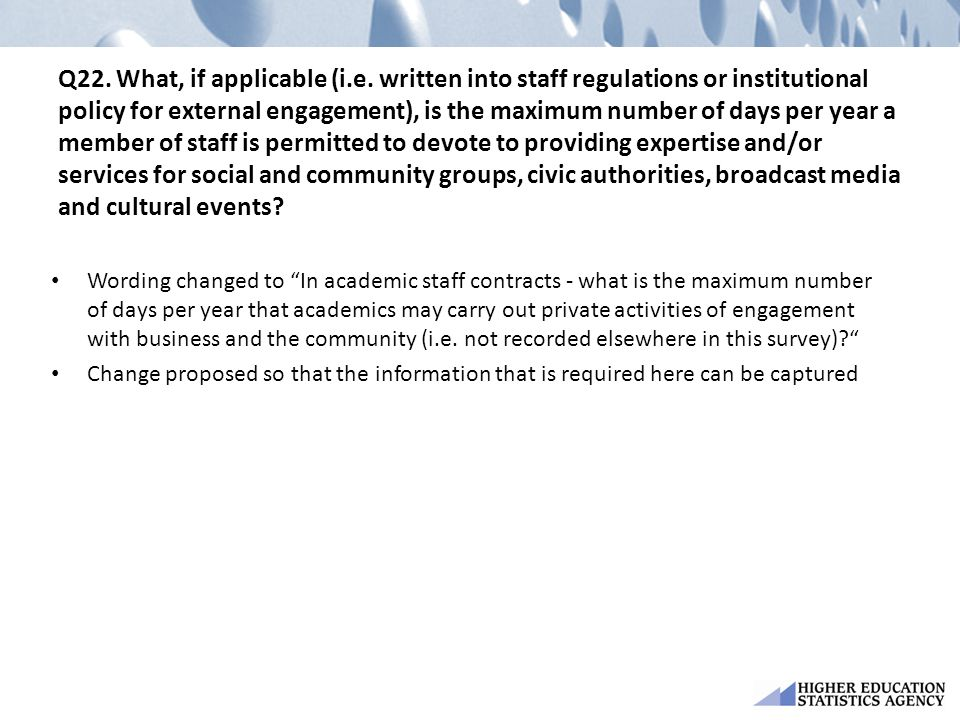 Q22. What, if applicable (i. e