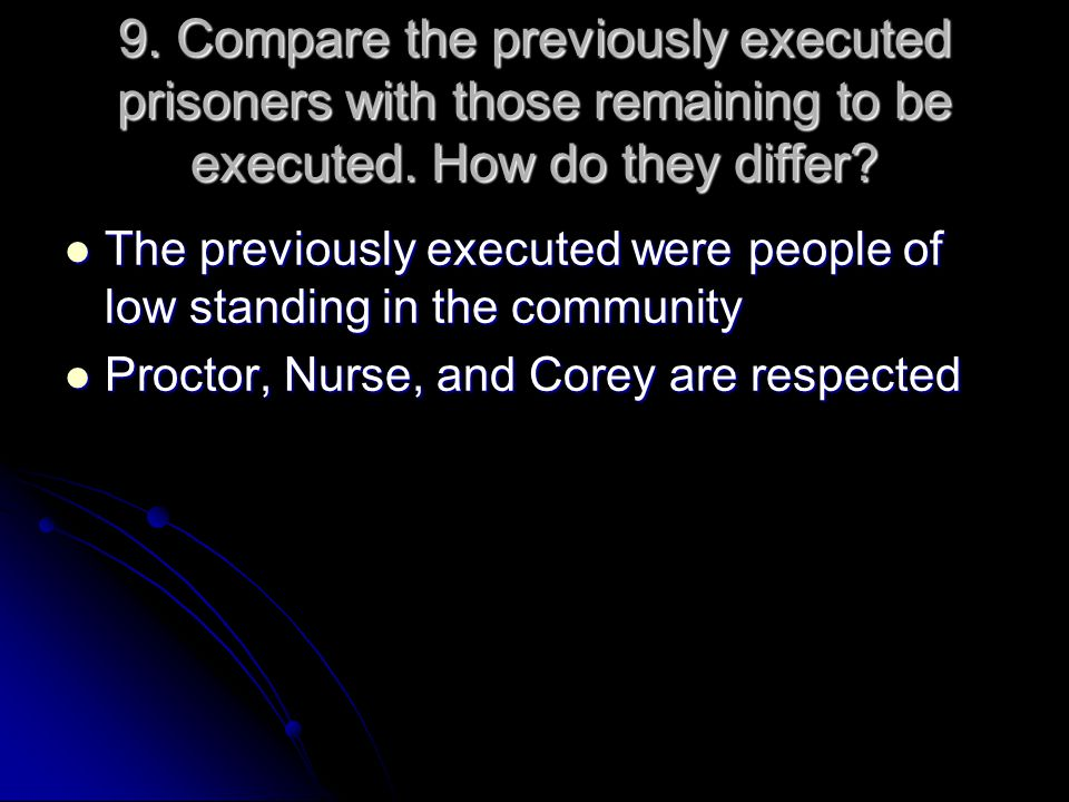 9. Compare the previously executed prisoners with those remaining to be executed. How do they differ