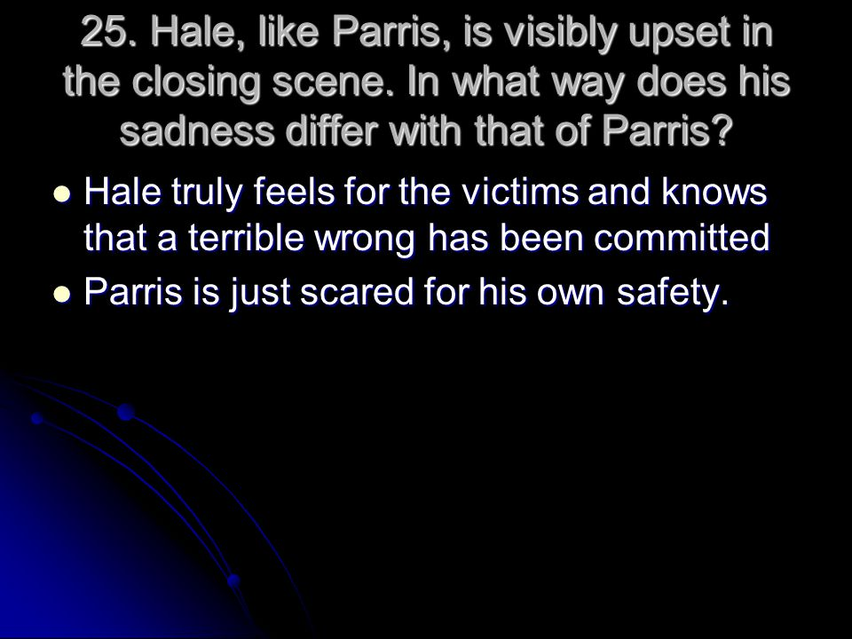 25. Hale, like Parris, is visibly upset in the closing scene