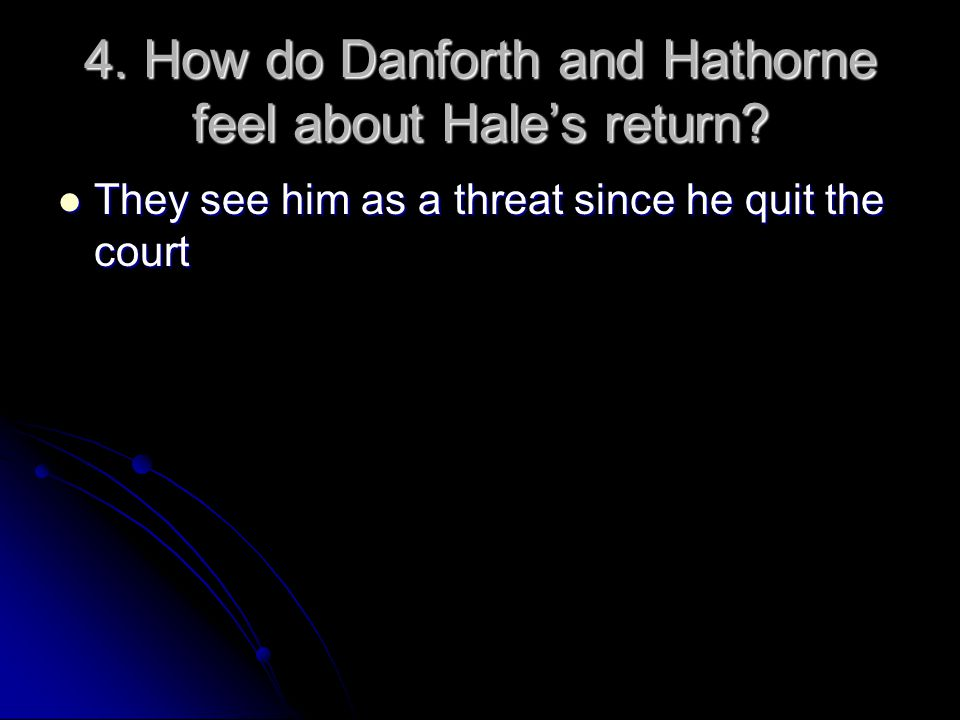 4. How do Danforth and Hathorne feel about Hale's return