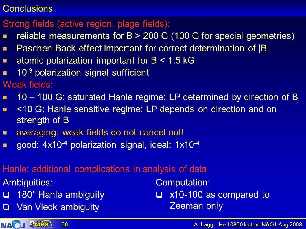 Conclusions Strong fields (active region, plage fields): reliable measurements for B > 200 G (100 G for special geometries)