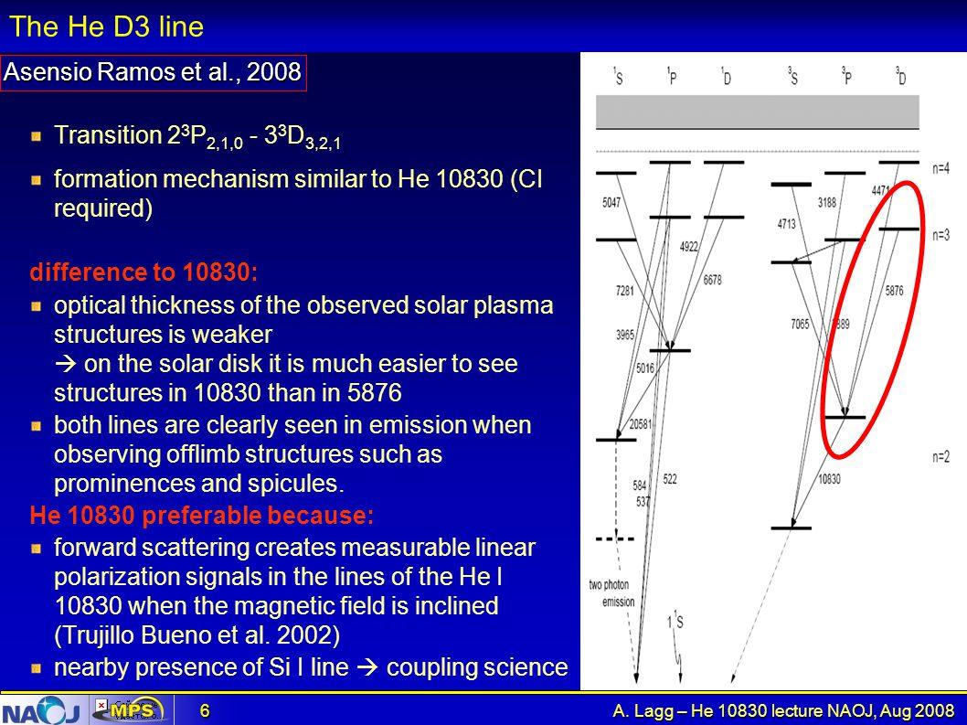 The He D3 line Asensio Ramos et al., 2008