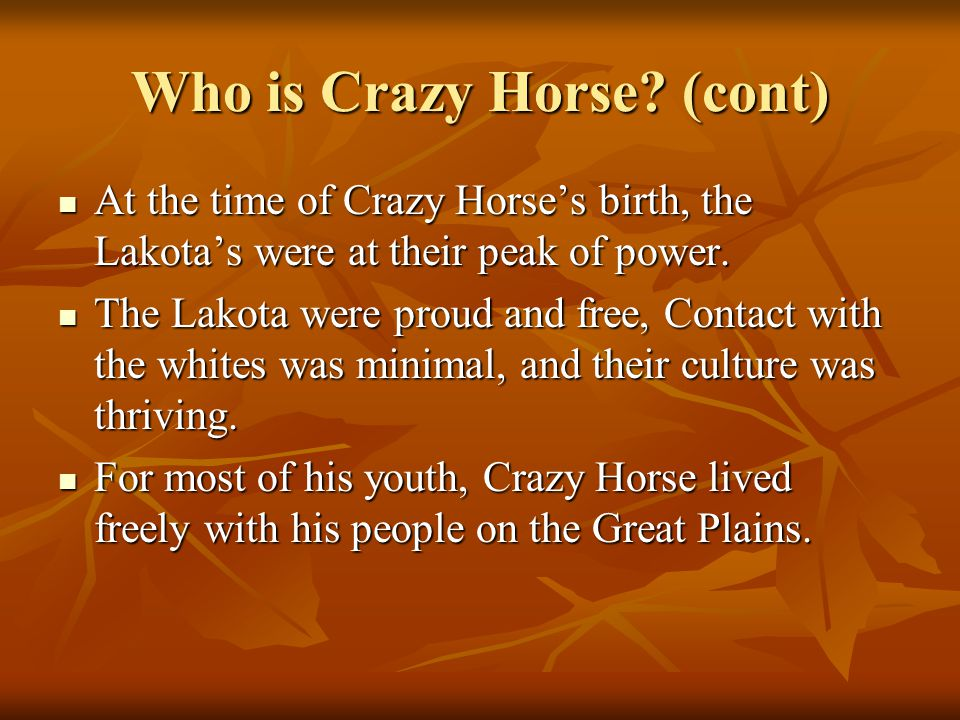 Who is Crazy Horse (cont)
