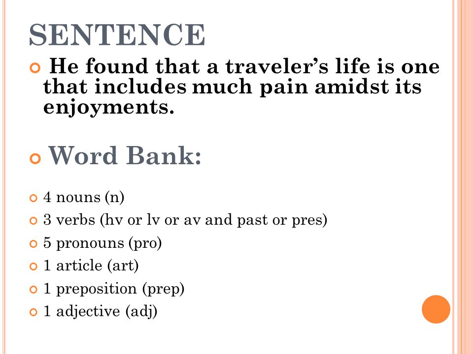 SENTENCE He found that a traveler's life is one that includes much pain amidst its enjoyments. Word Bank: