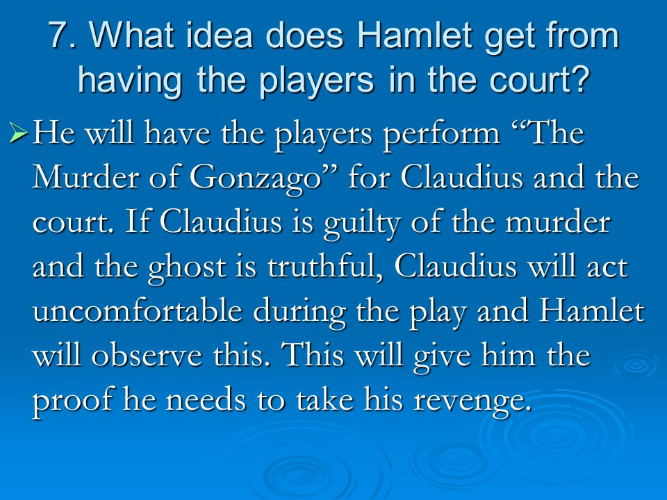 7. What idea does Hamlet get from having the players in the court