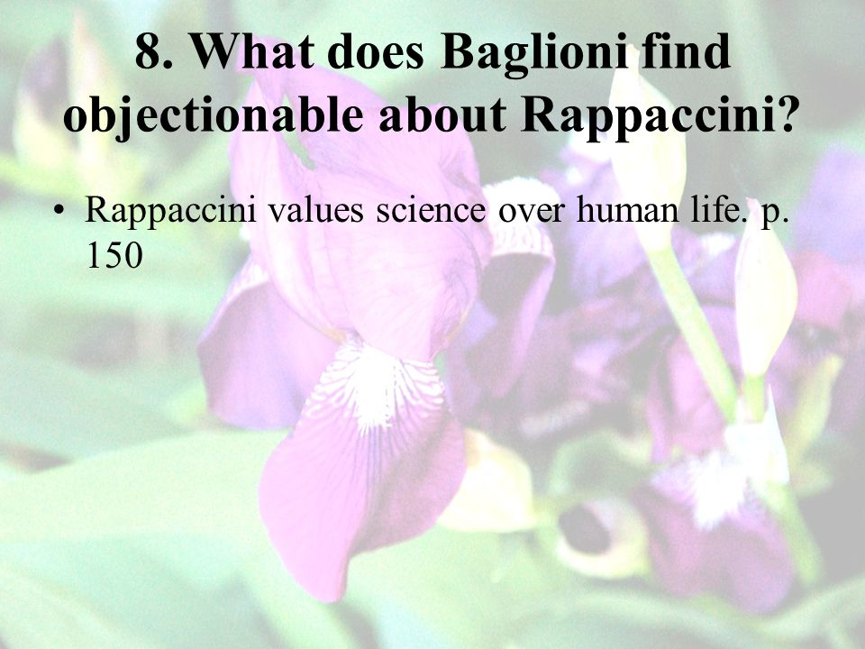 8. What does Baglioni find objectionable about Rappaccini