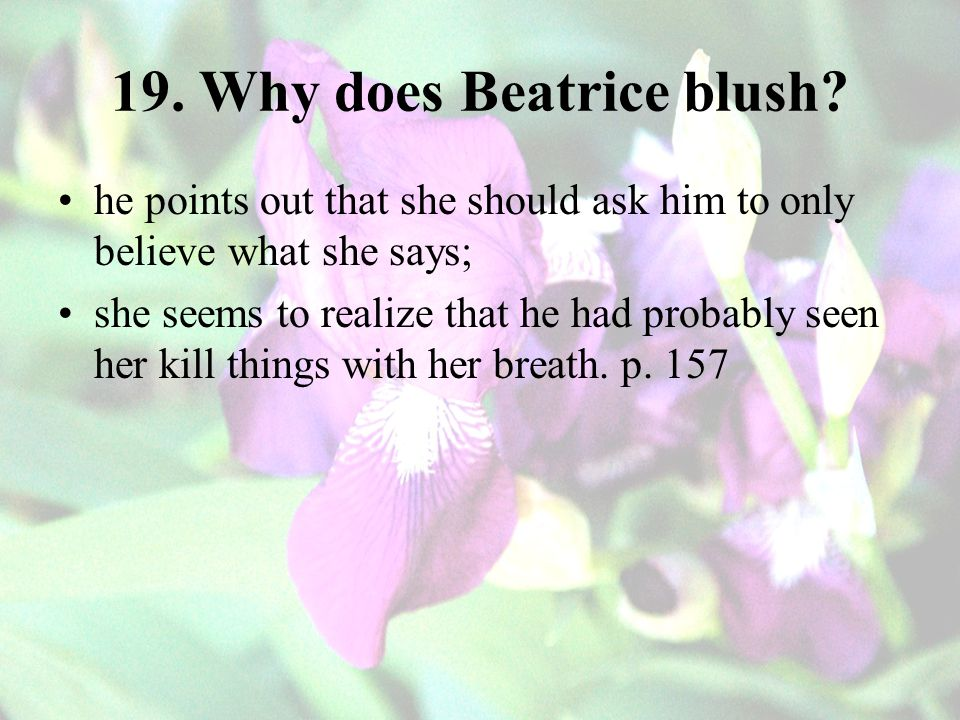 19. Why does Beatrice blush