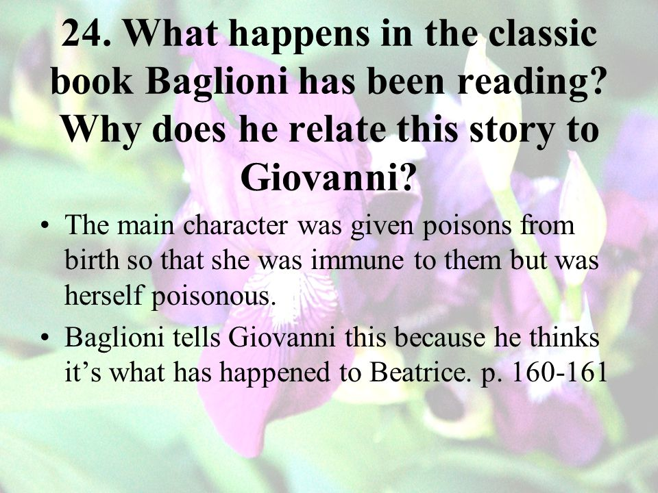 24. What happens in the classic book Baglioni has been reading