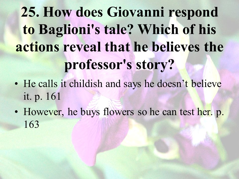 25. How does Giovanni respond to Baglioni s tale