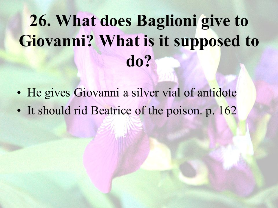 26. What does Baglioni give to Giovanni What is it supposed to do