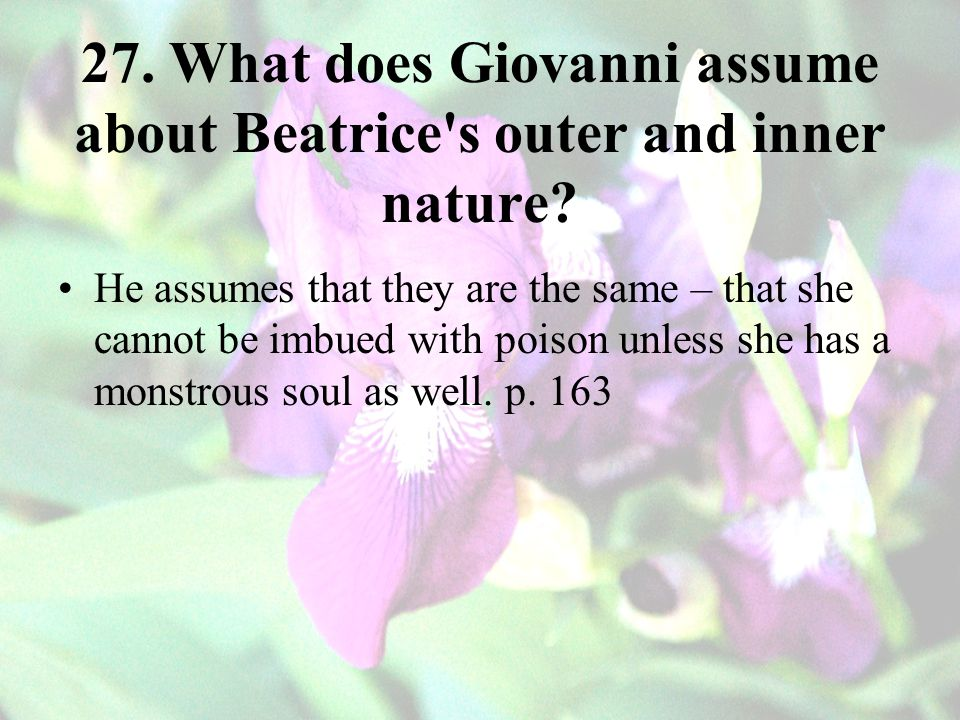 27. What does Giovanni assume about Beatrice s outer and inner nature