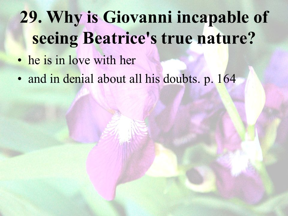 29. Why is Giovanni incapable of seeing Beatrice s true nature