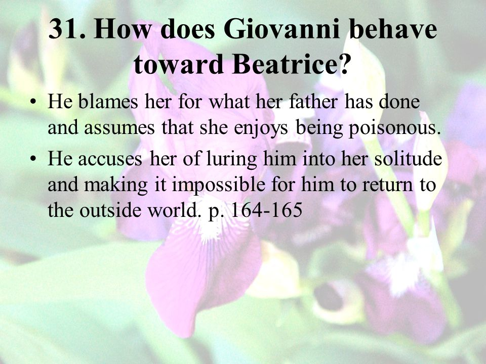 31. How does Giovanni behave toward Beatrice