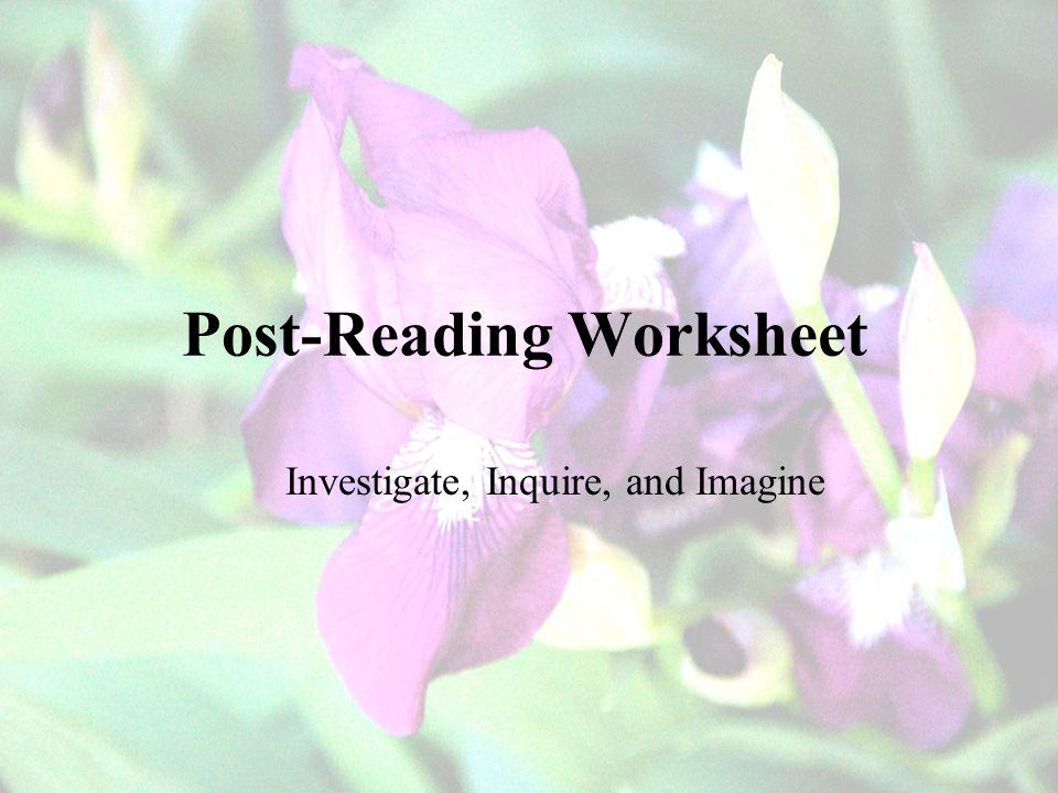 Post-Reading Worksheet