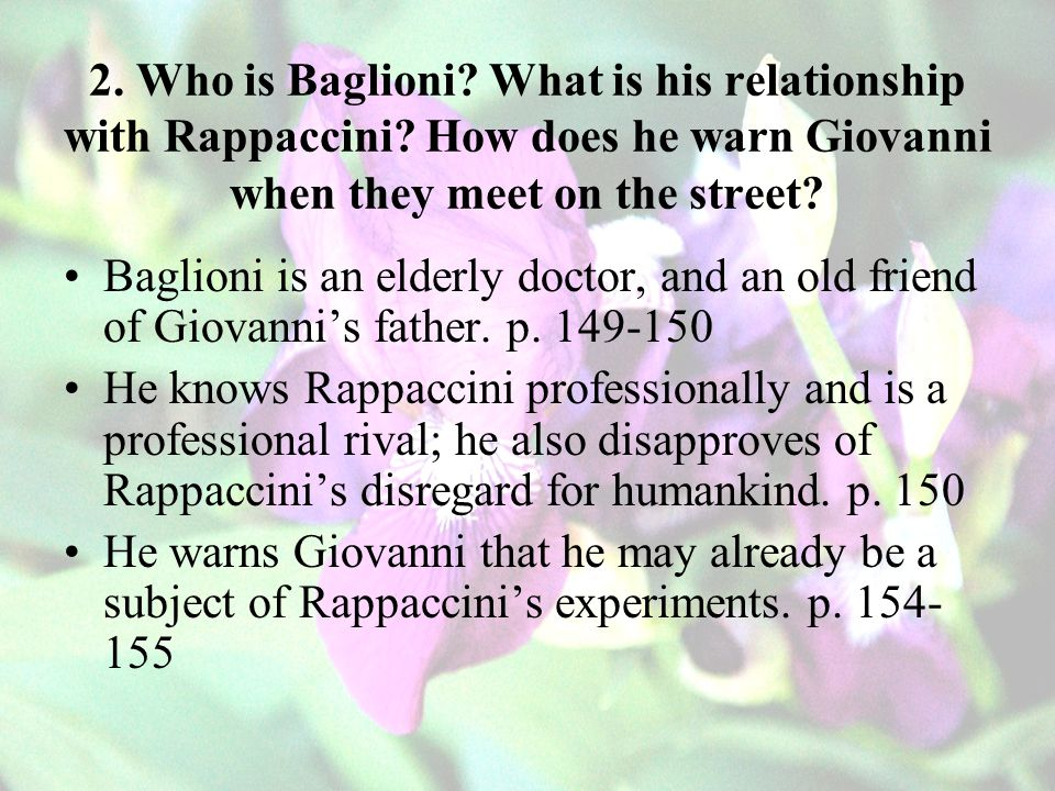 2. Who is Baglioni. What is his relationship with Rappaccini