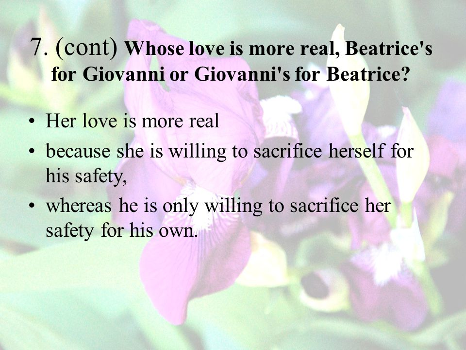 7. (cont) Whose love is more real, Beatrice s for Giovanni or Giovanni s for Beatrice