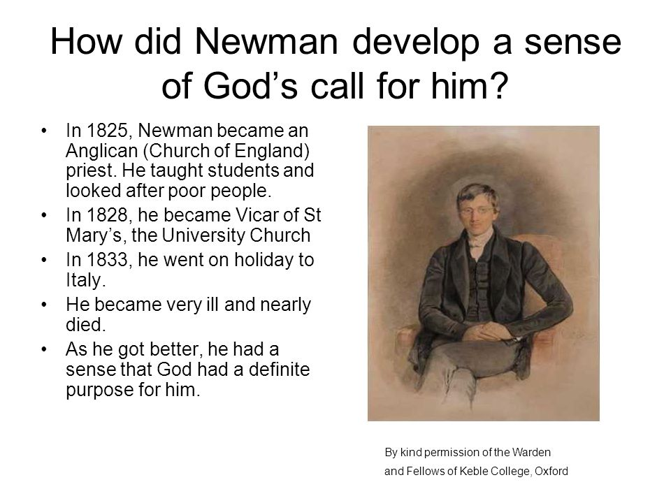 How did Newman develop a sense of God's call for him